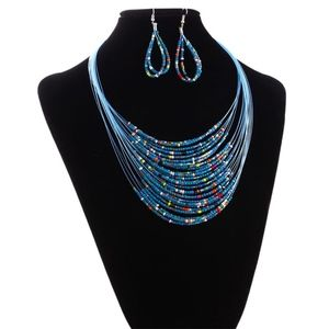 20 Layer Beaded Statement Necklace & Hoop Earrings